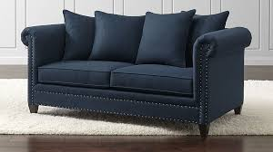 durham navy blue sofa with nailheads crate and barrel