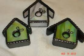 handmade stained glass bird house ornaments by artistic stained