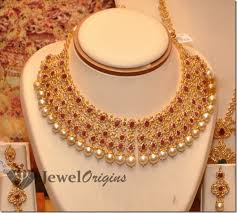 wedding jewelry choker necklace images Ruby studded gold choker designer gold jpg