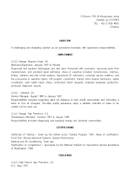 Automotive Resume Sample by Impressive Auto Mechanic Resume Sample Displaying Summary