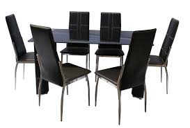 pc modern rectangular glass top table chairs dining room set with