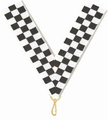 checkered ribbon 7 8 x 32 checkered flag neck ribbon with snap clip neck