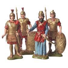 king herod with soldiers 4 nativity figurines 10cm moranduzzo
