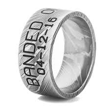 duck band wedding ring men s damascus steel duck band ring titanium buzz