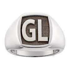 mens monogram ring men s laser engraved square monogram sterling silver signet ring