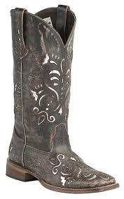 roper womens boots sale roper s sanded brown with metallic silver underlay square