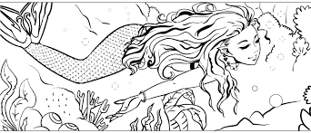 graceful mermaid with mermaid hair coloring page mermaid