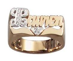 Personalized Name Ring Heart Shaped Gold And Diamond Rings Name Rings 14k Gold