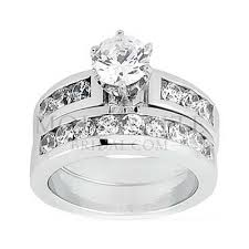 traditional wedding rings traditional channel set moissanite wedding ring set