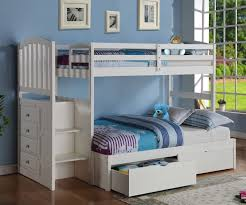 donco arch twin over full stair stepper bunk bed white bedroom