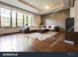 modern living room design brown parquet stock photo 543431371