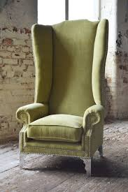 high back bedroom chair modern queen anne chesterfield wing arm chair extra high back lime