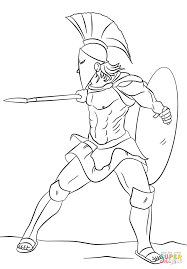 drawn warrior spartan soldier pencil and in color drawn warrior