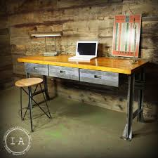 vintage industrial butcher block steel desk work bench kitchen