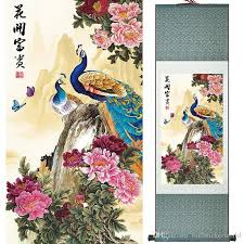 silk peacock home decor 2018 hd printed peacock animal wall pictures chinese scroll silk