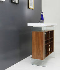 Extendable Bar Table Modrest Sven Contemporary White U0026 Walnut Floating Extendable