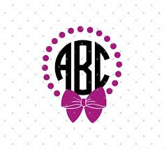 bow monogram svg cut files for cricut and silhouette bow and pearls monogram