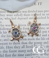 sapphire necklace with diamonds images Vintage rose gold turtle necklace with diamond sapphire or ruby jpg