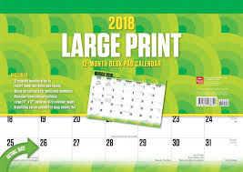desk pad calendar 2018 9781465088840 large print 2018 desk pad calendar browntrout