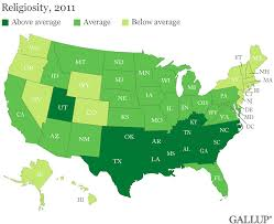 Southern States Map by Gallup These Are The Top 5 U0027most Religious U0027 U0026 U0027least Religious