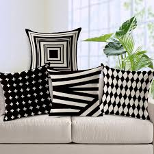 black patterned cushions decorative throw pillows case black white geometric cushion cover