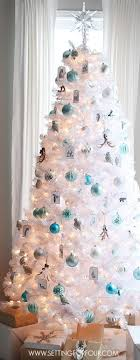 white and silver tree decorations lights