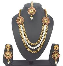 fashion pearl necklace set images Fashion jewellery latest bollywood style with pearl necklace set jpg