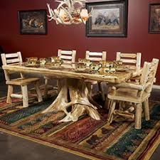 Log Dining Room Table Rustic Solid Wood Dining Table Barnwood Log Dining Tables