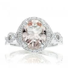 morganite engagement ring white gold engagement ring halo oval 10x8 twist shank white gold band