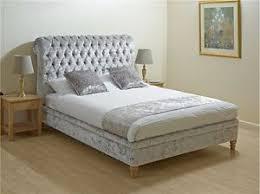 Velvet Bed Frame Crushed Velvet Bed Frame 4ft6 Bedstead Grey Velvet