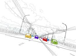sketch of traffic road in city for your design stock vector