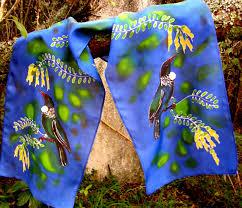 Tuis Tui With Kowhai Tree Handpainted Pure Silk Scarf Nz Handmade Gift