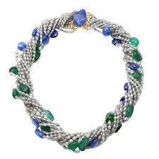 sapphire emerald necklace images Sapphire emerald diamond collier torsade necklace raf rare JPG