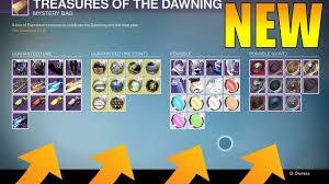 destiny new treasures of the dawning new gear ornaments