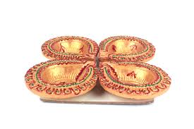 Swastik Decoration Pictures Swastik Design Diwali Earthen Diyas Set Of 4 Rudraksha Ratna