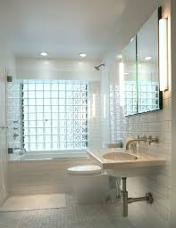 Mirrored Subway Tile Backsplash Bathroom Transitional With by Glass Block Windows Bathroom Transitional With Wood Cabinets Metal