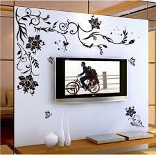 Home Design Wall Pictures | black flower vine butterfly vinyl wall stickers home decor rooms