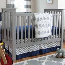 Elephant Crib Bedding Sets Navy And Gray Elephants 3 Crib Bedding Set Carousel Designs