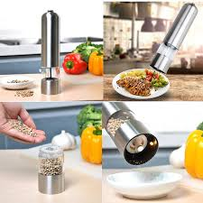 electric salt pepper mill grinder with light miuk electric salt and pepper grinder pepper shaker mill kitchen