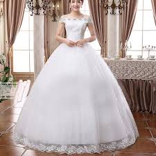white wedding gowns white bridal slash neck solid lace floor length gown wedding