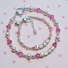 Personalized Kids Jewelry Personalized Name Bracelet Pink Pearls Little Girls Jewelry 1st