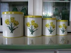 grape kitchen canisters vintage retro set of 4 lime green grapes tin kitchen canisters