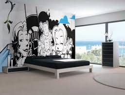 using graffiti murals to decorate the walls of your home bedroom design with blue graffiti wall mural wallpaper