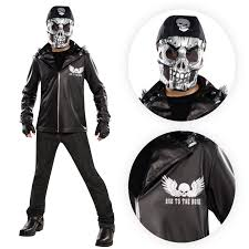 Halloween Motorcycle Costume Boys Bad Bone Biker Man Silver Skull Goth Hells Angel Fancy