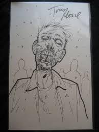 tony moore walking dead zombie signed sketch