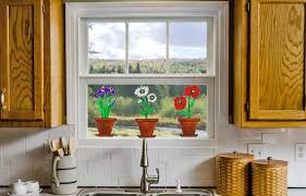 faux stained glass kitchen cabinets flower pot window clings iris daisies poppies faux stained glass suncatchers