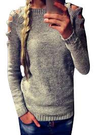 personalized scoop tootless women hollow personalized scoop neck pullover