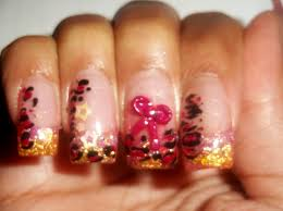 pink and gold acrylic glitter nails leopard nail art u0026 3d bow