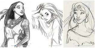 early concept artworks and sketches of disney characters