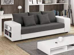 canapé tissu canapé tissu et simili avec rangement gris et blanc lisalmi